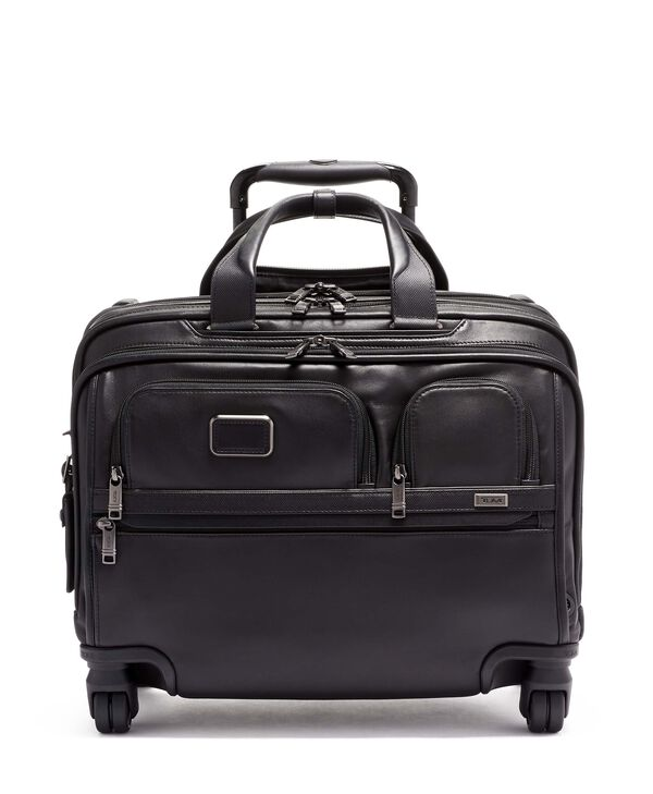 Alpha 3 Deluxe 4 Wheeled Laptop Case Brief Leather