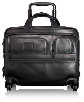 4 Wheeled Deluxe Leather Brief with Laptop Case Alpha 2